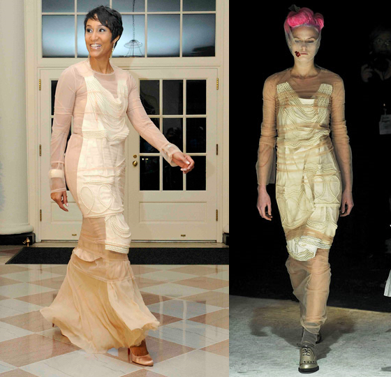 desiree rogers wears commes des garcons fall 2009 to white house state dinner