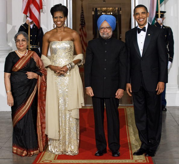 India's Prime Minister Manmohan Singh and wife Gursharan Kaur to State Dinner,  North Portico of the White House