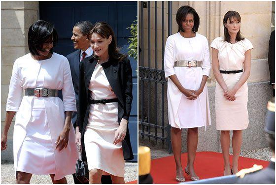 Michelle Obama With Carla Bruni White Dresses